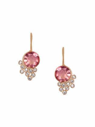 Pink-Grey Gold Tone Rosaleen Droplet Stud Earrings