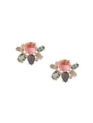 Pink-Grey Gold Tone Rosaleen Multigem Cluster Stud Earrings