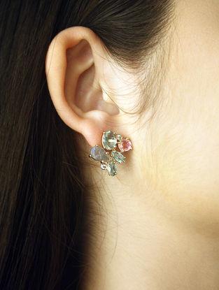 Pink-Grey Gold Tone Rosaleen Hydro Green Labradorite Cluster Stud Earrings