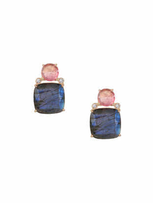 Pink-Grey Gold Tone Rosaleen Stud Earrings