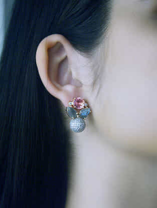 Pink-Grey Gold Tone Rosaleen Pave Stud Earrings