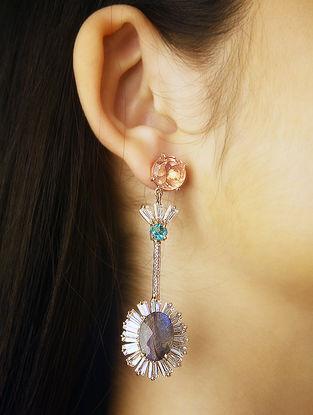 Pink-Grey Gold Tone Rosaleen Statement Earrings