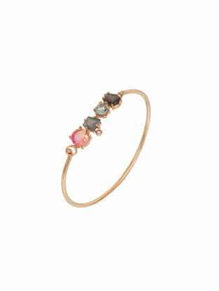 Pink-Grey Gold Tone Rosaleen Multigem Bangle