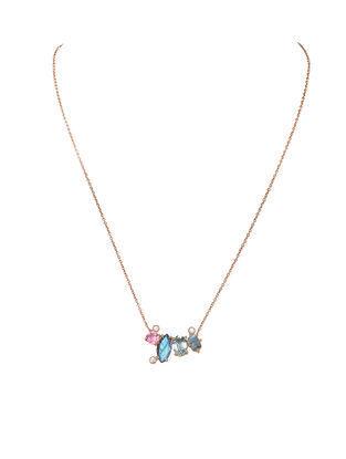 Pink-Grey Gold Tone Rosaleen Mutigem Delicate Necklace