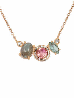 Pink-Grey Gold Tone Rosaleen Delicate Necklace