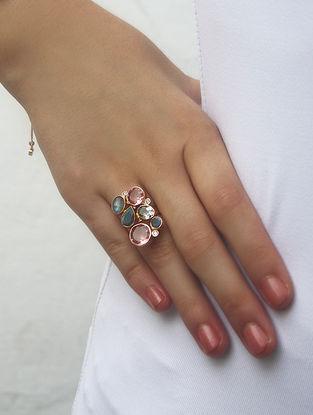 Pink-Grey Gold Tone Rosaleen Statement Ring