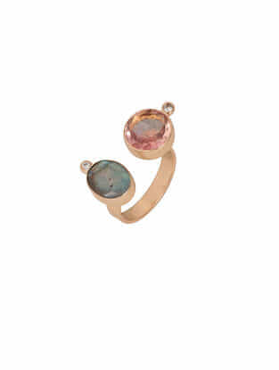 Pink-Grey Gold Tone Rosaleen Double Finger Ring