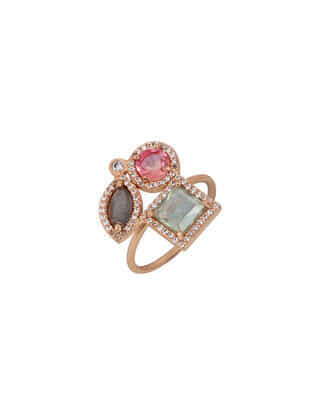 Pink-Grey Gold Tone Rosaleen 3 Gemstones Delicate Ring