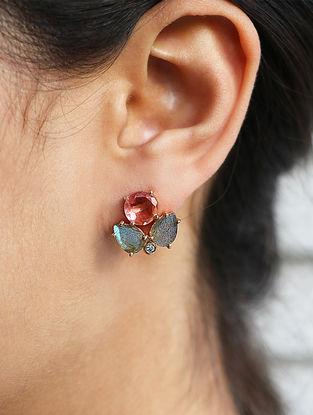 Pink-Grey Gold Tone Rosaleen Gaba Stud Earrings