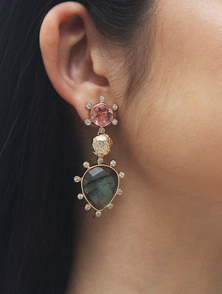 Pink-Grey Gold Tone Rosaleen Sparkle Statement Earrings