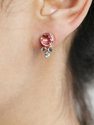 Pink-Grey Gold Tone Rosaleen Circle Stud Earrings