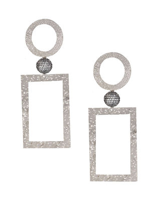 Silver Tone Zabel Square Drop Earrings