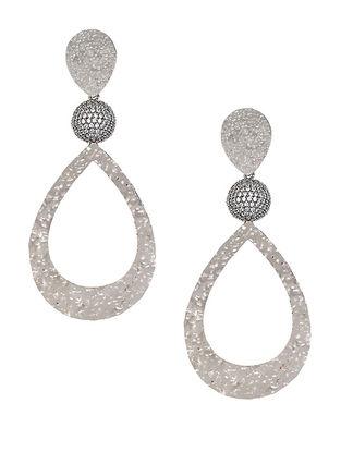 Silver Tone Zabel Large Drop Earrings