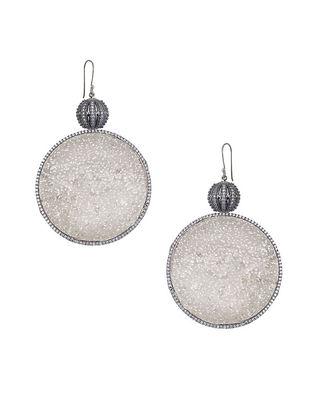 Silver Tone Zabel Circular Drop Earrings