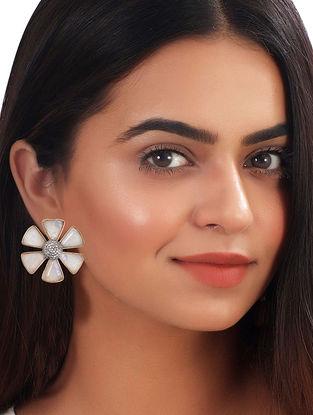 White Gold Tone African Daisy Moonstone Stud Earrings