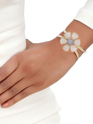 White Gold Tone African Daisy Moonstone Cuff