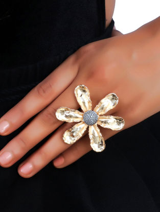 Classic Gold Tone Wildflower Pave Ring
