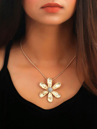 Classic Gold Tone Wildflower Pave Pendant Necklace