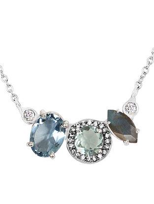 Blue-Grey Bluette Trio Demi Necklace