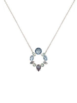 Blue-Grey Bluette Circular Pendant Necklace