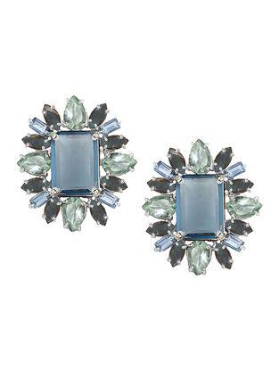 Blue-Grey Bluette Statement Stud Earrings