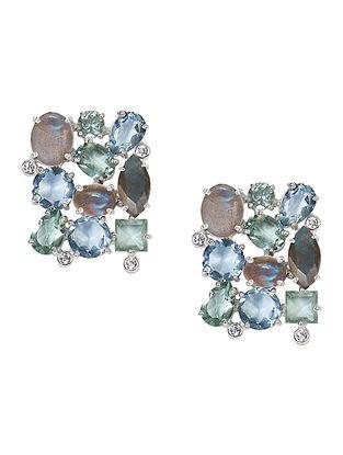 Blue-Grey Bluette Square Stud Earrings