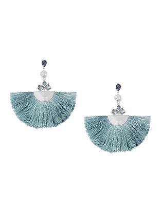 Blue-Grey Bluette Fan Tassel Earrings