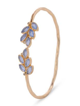 Blue Chalcedony Gold-plated Brass Cuff