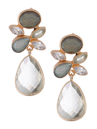 Prehnite and Labradorite Gold-plated Brass Earrings