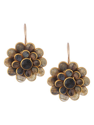 Labradorite Gold-plated Brass Earrings with Floral Design