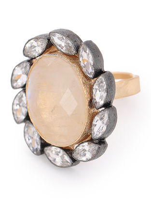 Moonstone Gold-plated Adjustable Brass Ring