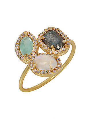 Moonstone and Green Chalcedony Brass Ring (Ring Size - 5.5)