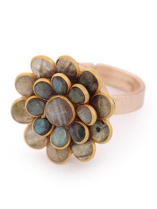 Labradorite Gold-plated Adjustable Brass Ring