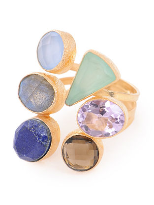 Green and Blue Chalcedony Brass Ring