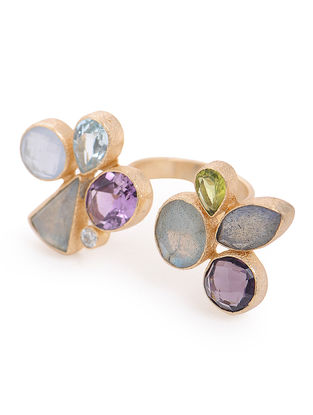 Labradorite and Blue Chalcedony Gold-plated Adjustable Brass Ring