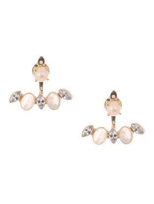 Moonstone and Fresh Water Pearl Gold-plated Brass Earrings