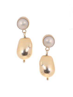 Fresh Water Pearl and Baroque Pearl Gold-plated Brass Earrings