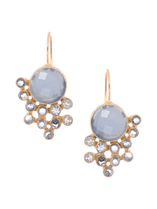 Blue Chalcedony and Topaz Gold-plated Brass Earrings