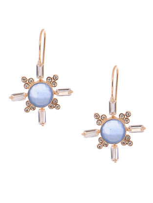 Blue Chalcedony Gold-plated Brass Earrings