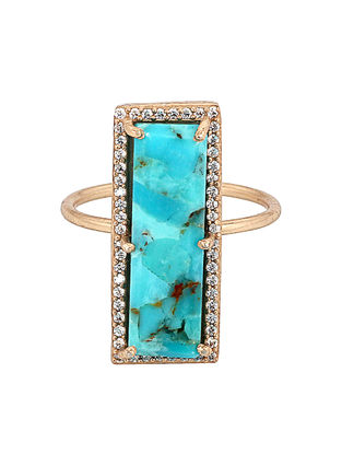 Mojave Turquoise Gold-plated Brass Ring (Ring Size -6)