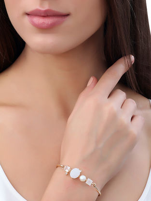 Moonstone and Pearl Gold-plated Brass Bangle (Bangle Size -2/8)