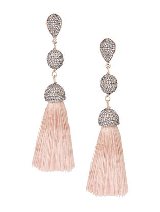 Peach Gold-plated Brass Earrings with Tassels