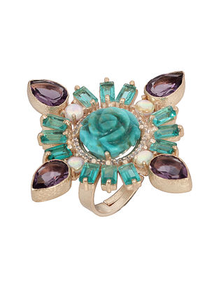 Green-Purple Opalite and Hydro Amethyst Gold-plated Brass Adjustable Ring
