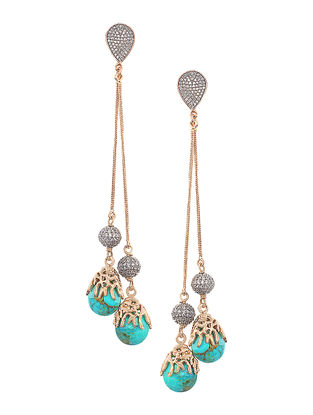 Turquoise Mojave Gold-plated Brass Earrings