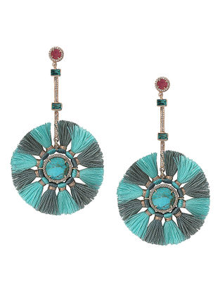 Red-Turquoise Hydro Tourmaline and Mojave Gold-plated Brass Earrings with Tassels