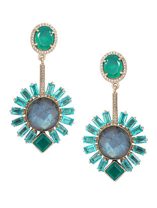 Green Onyx and Apatite Gold-plated Brass Earrings