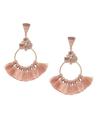 Pink Chalcedony and Labradorite Gold-plated Brass Earrings with Tassels
