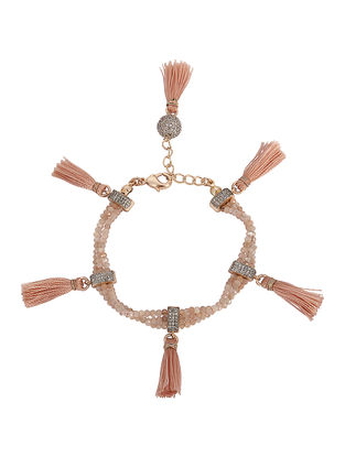 Peach Moonstone Rhodium-plated Brass Bracelet with Tassels