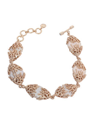 Classic Gold-plated Brass Pearl Bracelet
