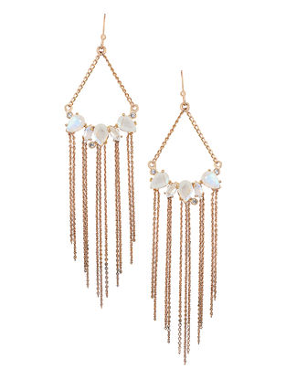 White Moonstone Gold-plated Brass Earrings
